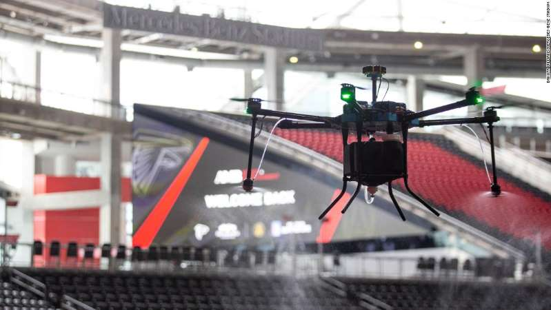 Atlanta's Mercedes-Benz Stadium (MBS) is the first professional sports venue to sanitize its arena using drones.