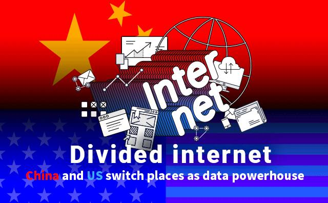 Divided internet                     China and US switch places as data powerhouse